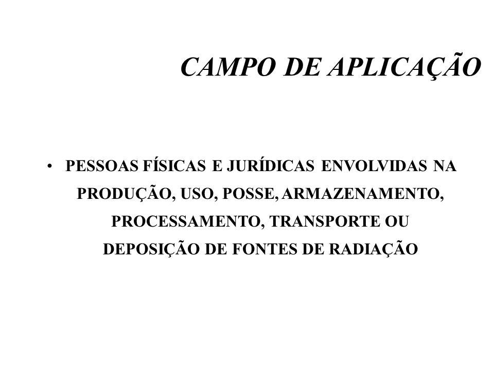 CAMPO DE APLICAÇÃO PESSOAS FÍSICAS E JURÍDICAS ENVOLVIDAS NA PRODUÇÃO, USO, POSSE, ARMAZENAMENTO, PROCESSAMENTO, TRANSPORTE OU DEPOSIÇÃO DE FONTES DE