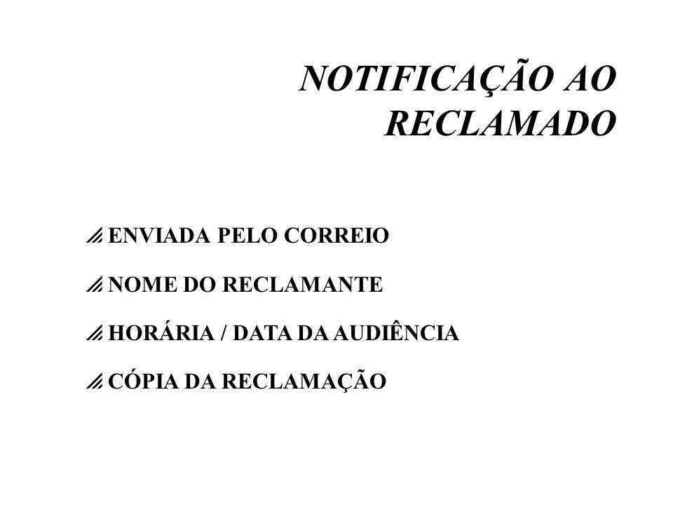 NOTIFICAÇÃO AO RECLAMADO ENVIADA PELO CORREIO NOME DO RECLAMANTE HORÁRIA / DATA DA AUDIÊNCIA CÓPIA DA RECLAMAÇÃO