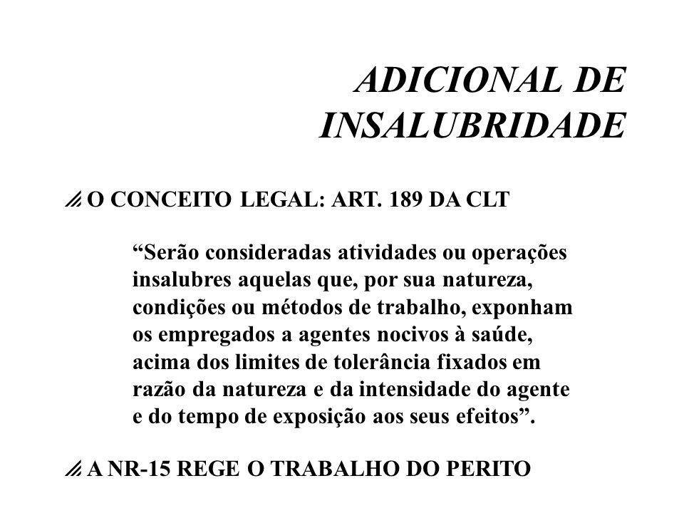 ADICIONAL DE INSALUBRIDADE O CONCEITO LEGAL: ART. 189 DA CLT Serão consideradas atividades ou operações insalubres aquelas que, por sua natureza, cond