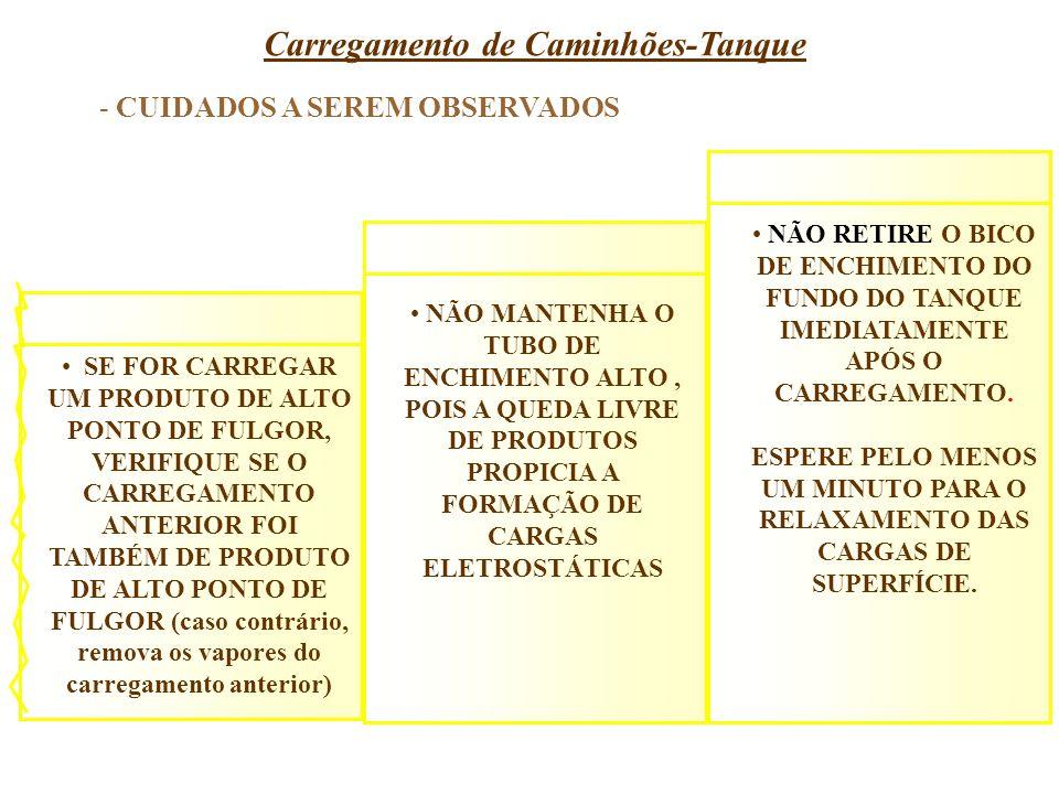 Carregamento de Caminhões-Tanque SE FOR CARREGAR UM PRODUTO DE ALTO PONTO DE FULGOR, VERIFIQUE SE O CARREGAMENTO ANTERIOR FOI TAMBÉM DE PRODUTO DE ALT