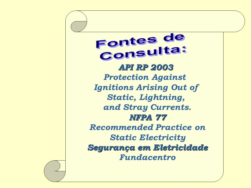 API RP 2003 Protection Against Ignitions Arising Out of Static, Lightning, and Stray Currents. NFPA 77 Recommended Practice on Static Electricity Segu