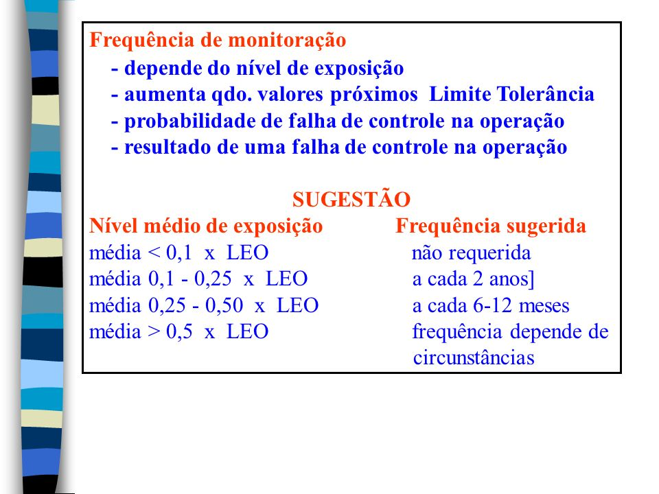 Frequência de monitoração - depende do nível de exposição - aumenta qdo.