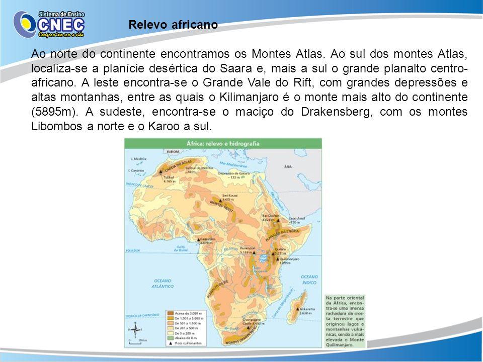 Relevo africano Ao norte do continente encontramos os Montes Atlas. Ao sul dos montes Atlas, localiza-se a planície desértica do Saara e, mais a sul o