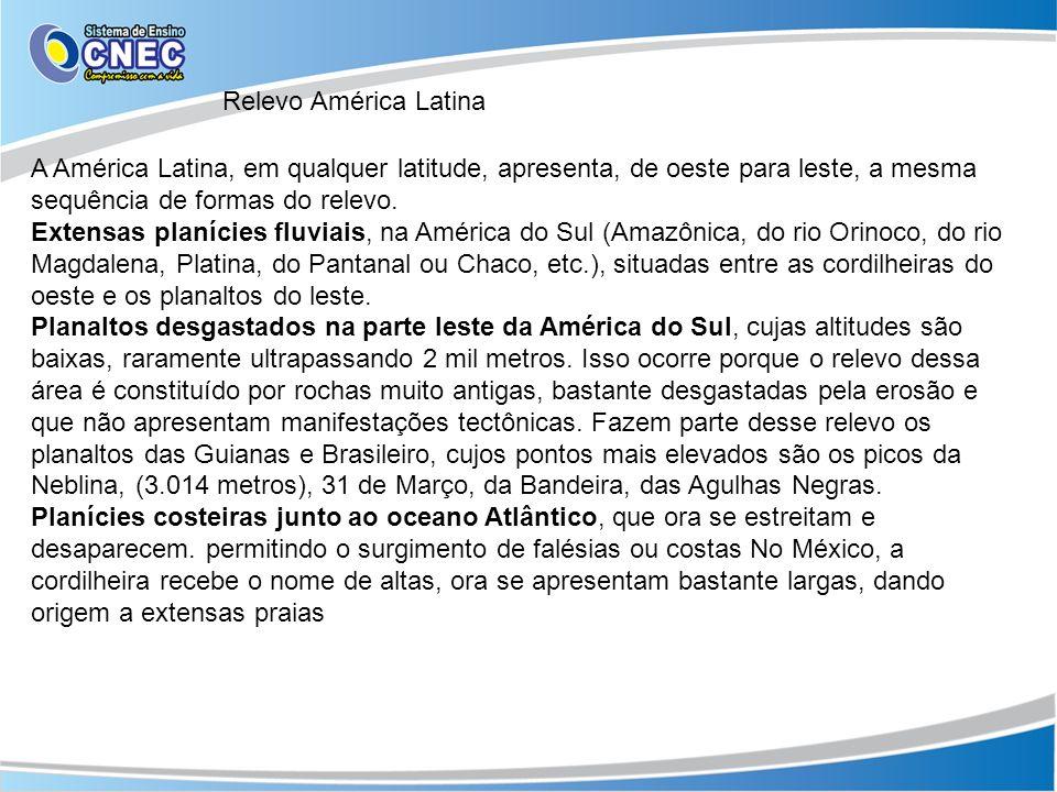 Relevo América Latina A América Latina, em qualquer latitude, apresenta, de oeste para leste, a mesma sequência de formas do relevo. Extensas planície