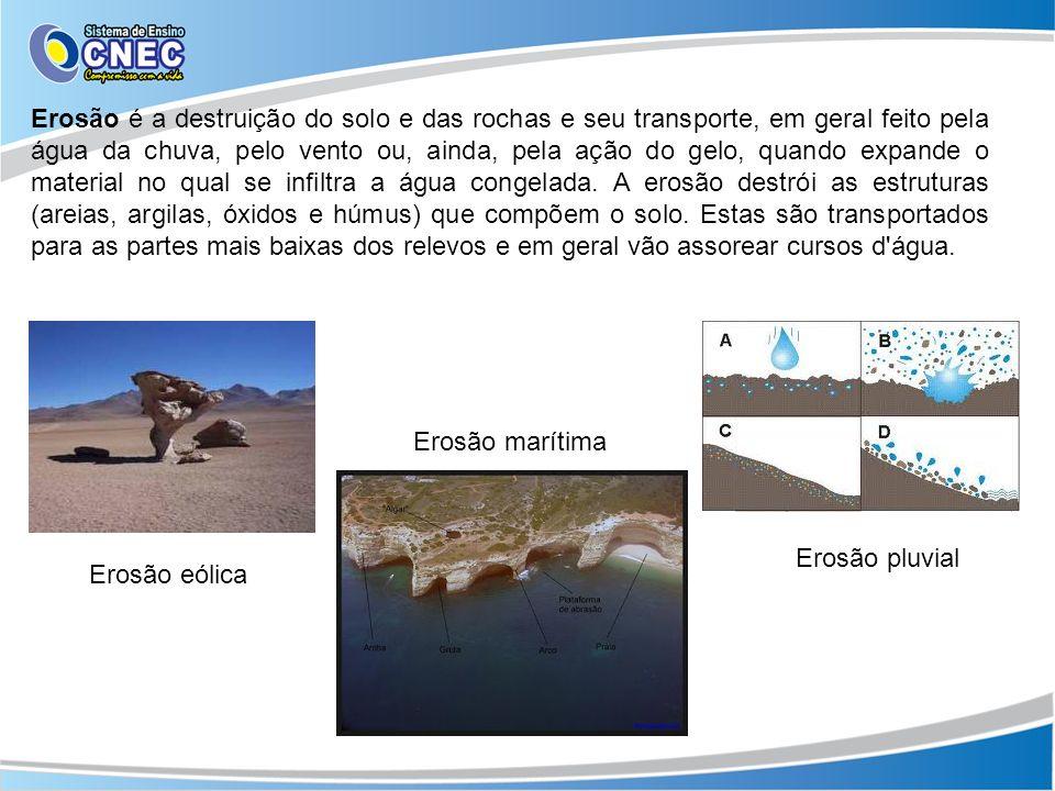 Erosão eólica Erosão pluvial Erosão marítima Erosão é a destruição do solo e das rochas e seu transporte, em geral feito pela água da chuva, pelo vent