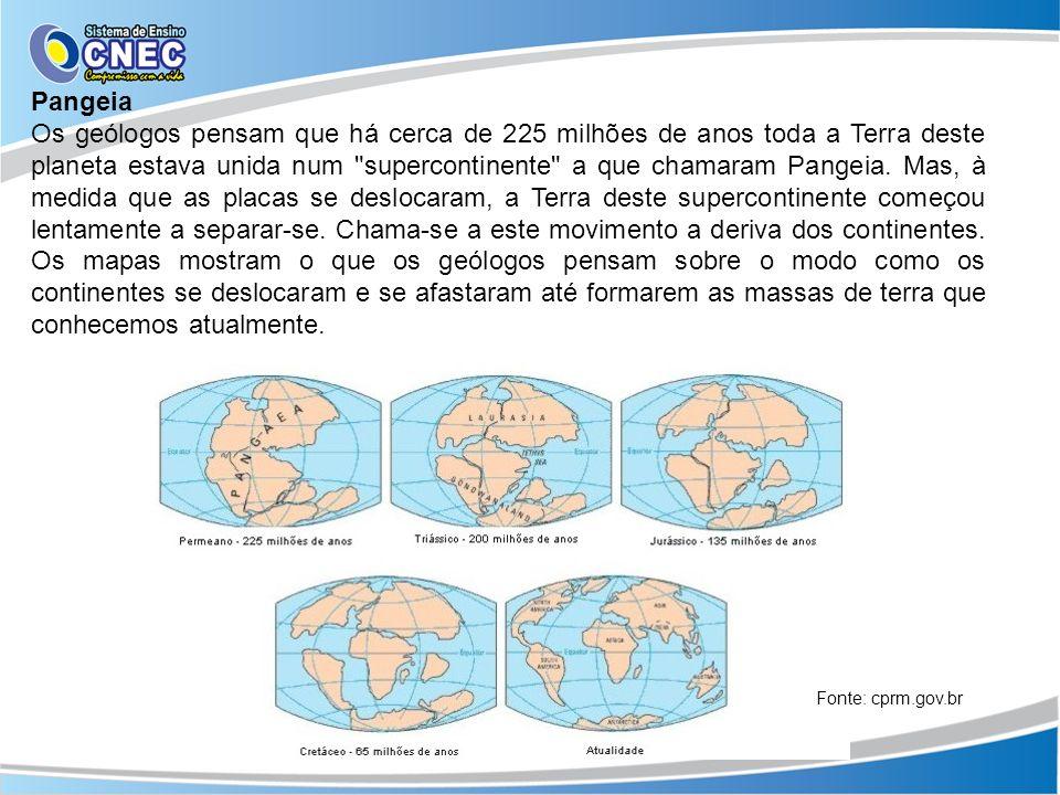 Pangeia Os geólogos pensam que há cerca de 225 milhões de anos toda a Terra deste planeta estava unida num