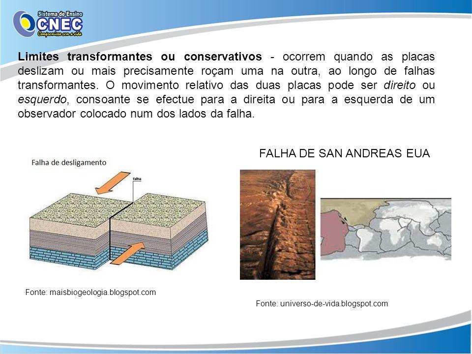 Limites transformantes ou conservativos - ocorrem quando as placas deslizam ou mais precisamente roçam uma na outra, ao longo de falhas transformantes