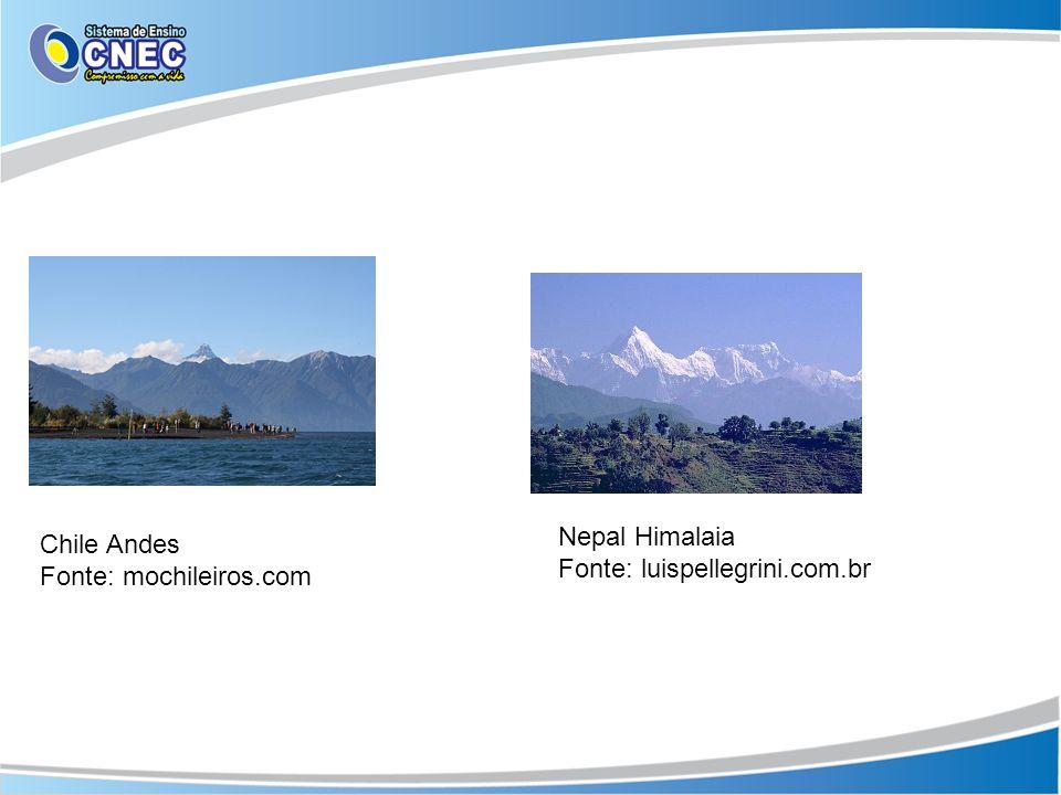 Chile Andes Fonte: mochileiros.com Nepal Himalaia Fonte: luispellegrini.com.br