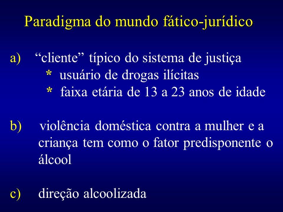 Paradigma do mundo fático-jurídico a) cliente típico do sistema de justiça * usuário de drogas ilícitas * faixa etária de 13 a 23 anos de idade b) vio