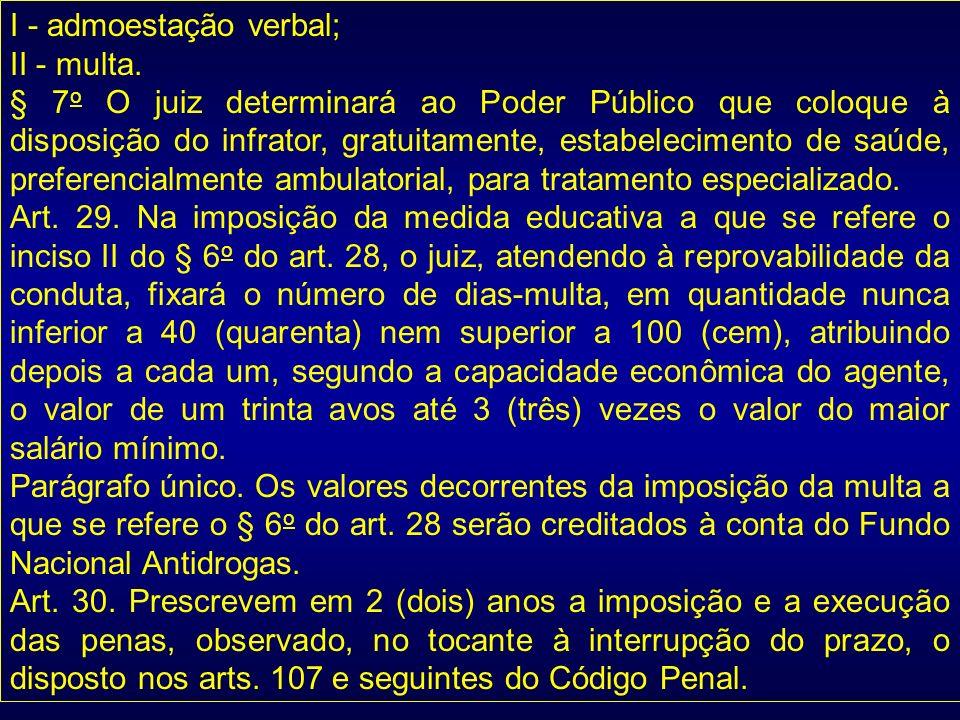 I - admoestação verbal; II - multa. § 7 o O juiz determinará ao Poder Público que coloque à disposição do infrator, gratuitamente, estabelecimento de