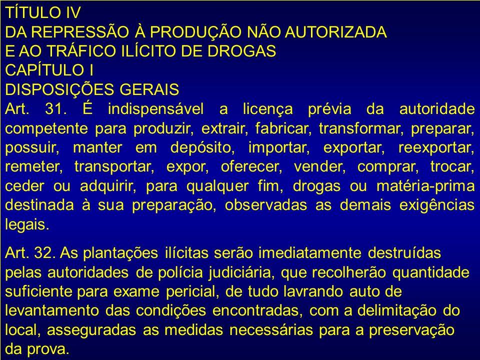 TÍTULO IV DA REPRESSÃO À PRODUÇÃO NÃO AUTORIZADA E AO TRÁFICO ILÍCITO DE DROGAS CAPÍTULO I DISPOSIÇÕES GERAIS Art. 31. É indispensável a licença prévi