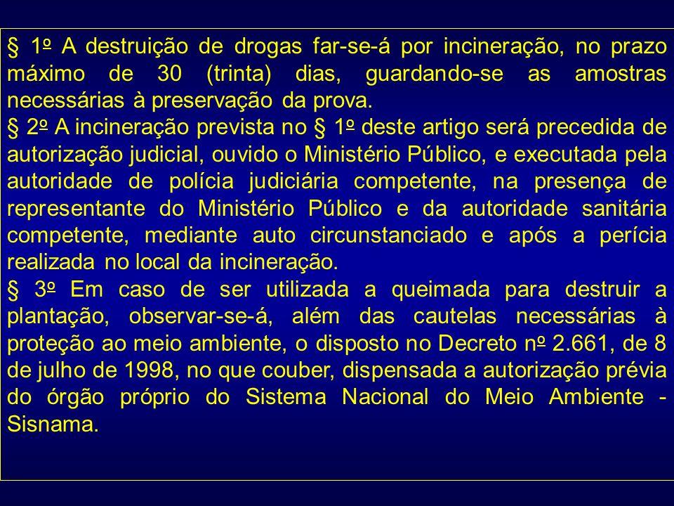 § 1 o A destruição de drogas far-se-á por incineração, no prazo máximo de 30 (trinta) dias, guardando-se as amostras necessárias à preservação da prov
