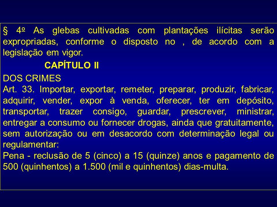 § 4 o As glebas cultivadas com plantações ilícitas serão expropriadas, conforme o disposto no, de acordo com a legislação em vigor. CAPÍTULO II DOS CR