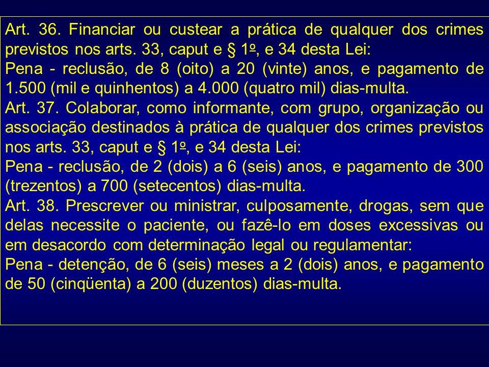 Art. 36. Financiar ou custear a prática de qualquer dos crimes previstos nos arts. 33, caput e § 1 o, e 34 desta Lei: Pena - reclusão, de 8 (oito) a 2