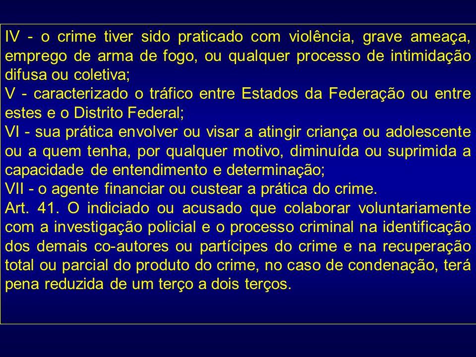 IV - o crime tiver sido praticado com violência, grave ameaça, emprego de arma de fogo, ou qualquer processo de intimidação difusa ou coletiva; V - ca