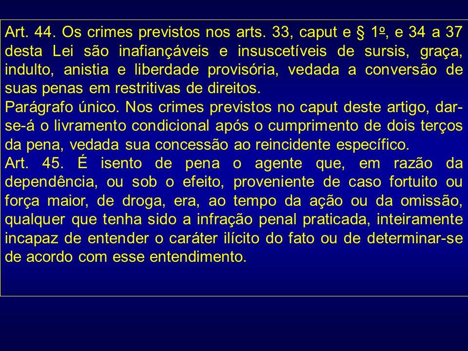 Art. 44. Os crimes previstos nos arts. 33, caput e § 1 o, e 34 a 37 desta Lei são inafiançáveis e insuscetíveis de sursis, graça, indulto, anistia e l