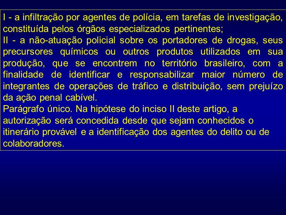 I - a infiltração por agentes de polícia, em tarefas de investigação, constituída pelos órgãos especializados pertinentes; II - a não-atuação policial