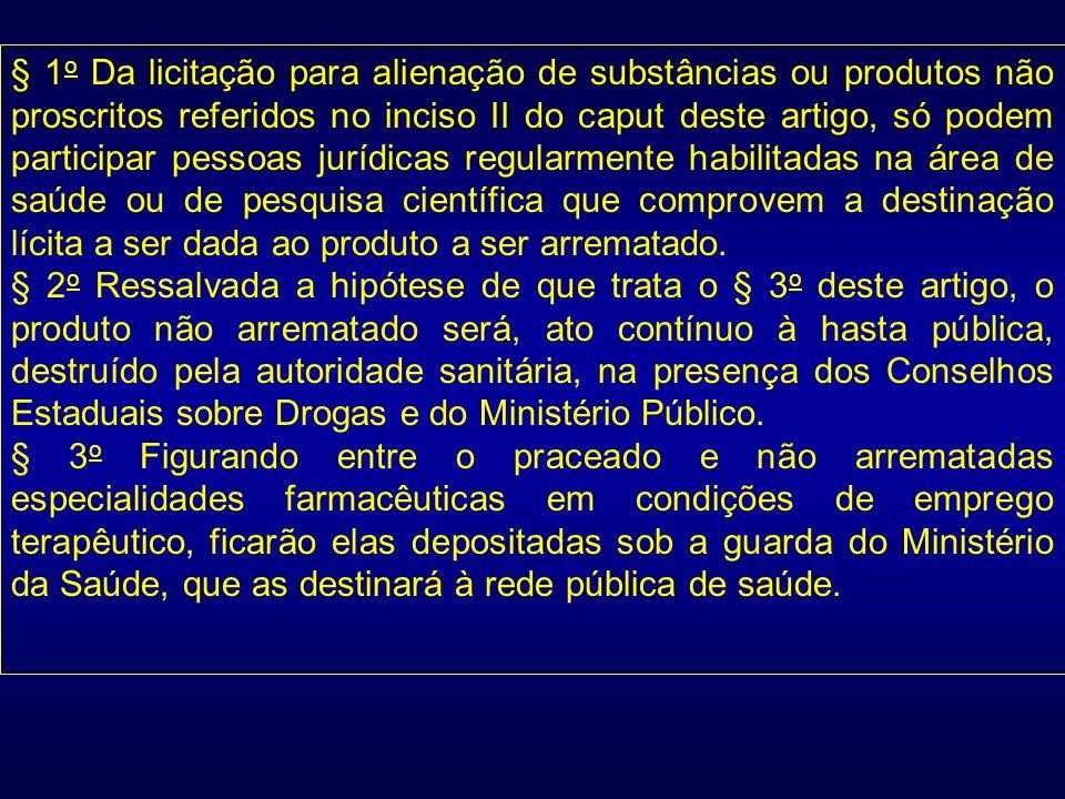 § 1 o Da licitação para alienação de substâncias ou produtos não proscritos referidos no inciso II do caput deste artigo, só podem participar pessoas