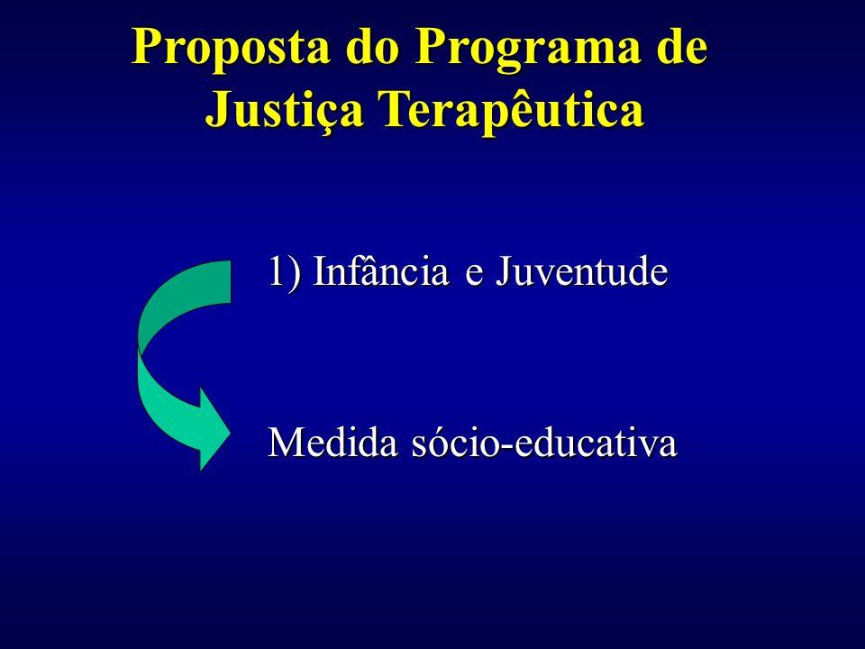 1) Infância e Juventude 1) Infância e Juventude Medida sócio-educativa Medida sócio-educativa Proposta do Programa de Justiça Terapêutica