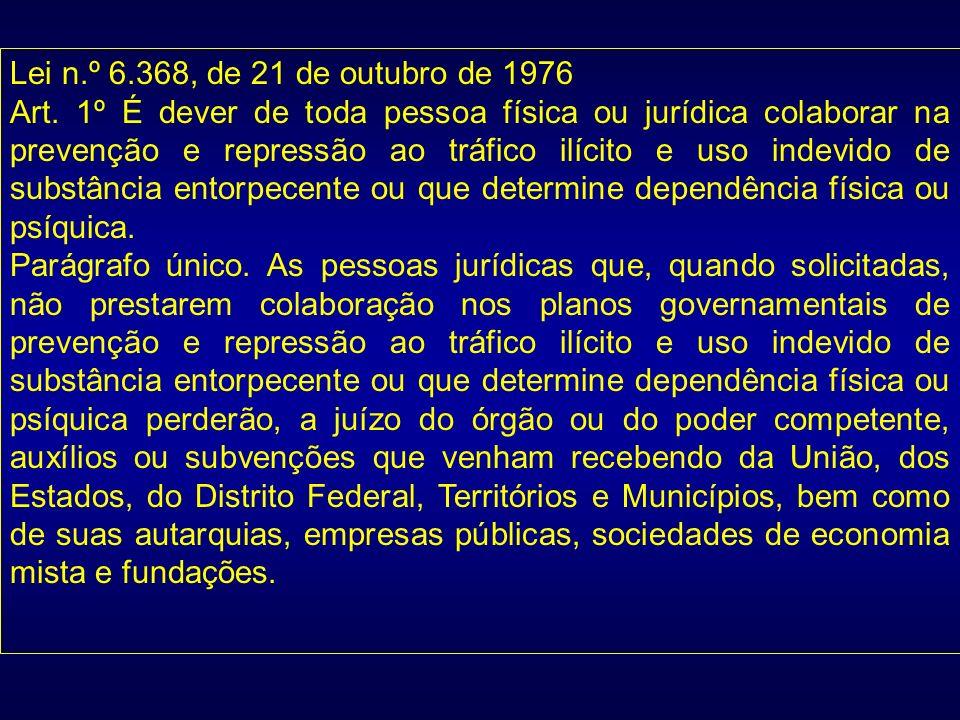 Lei n.º 6.368, de 21 de outubro de 1976 Art. 1º É dever de toda pessoa física ou jurídica colaborar na prevenção e repressão ao tráfico ilícito e uso