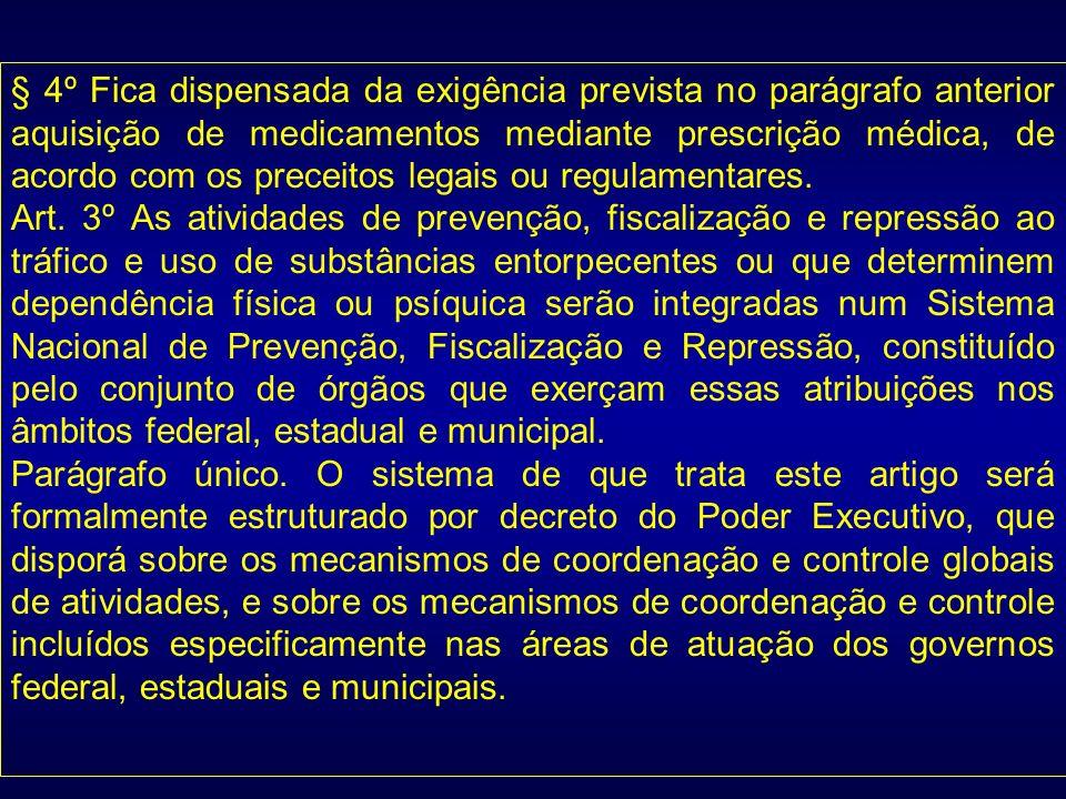 § 4º Fica dispensada da exigência prevista no parágrafo anterior aquisição de medicamentos mediante prescrição médica, de acordo com os preceitos lega