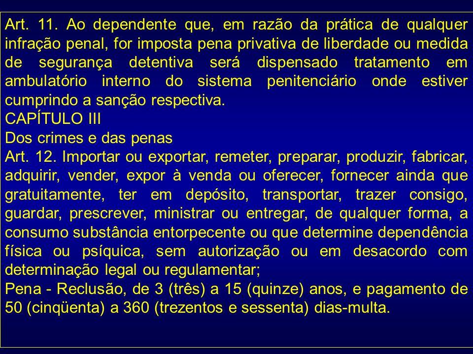 Art. 11. Ao dependente que, em razão da prática de qualquer infração penal, for imposta pena privativa de liberdade ou medida de segurança detentiva s
