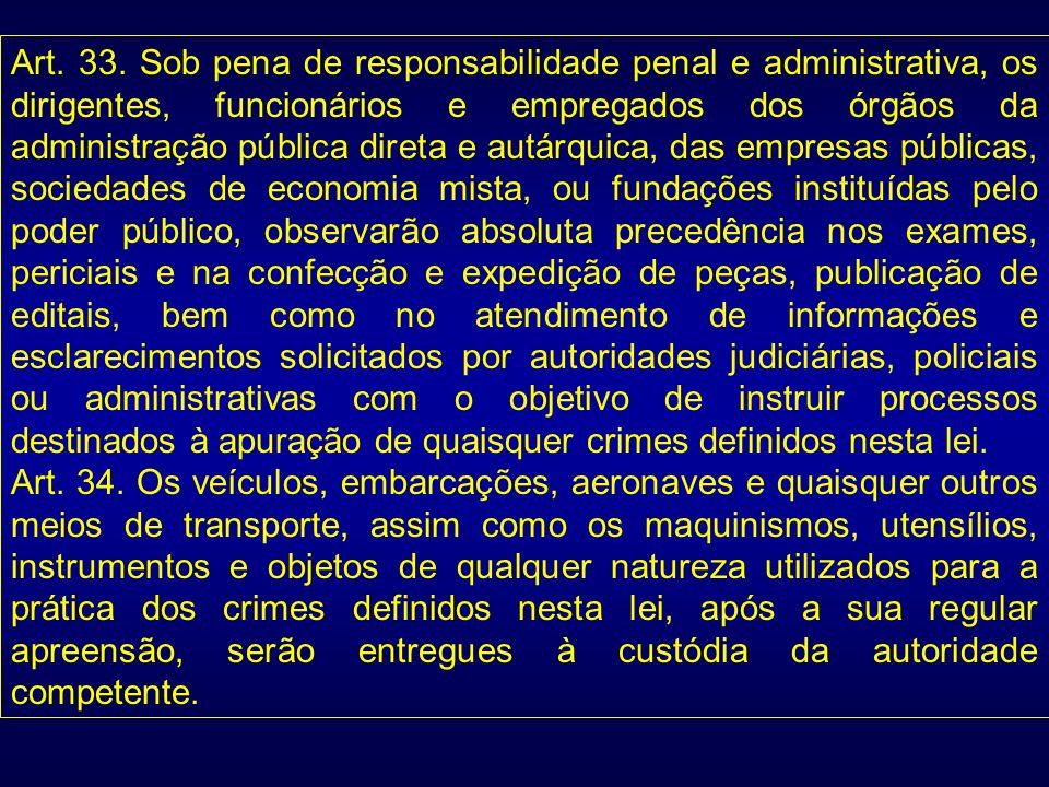 Art. 33. Sob pena de responsabilidade penal e administrativa, os dirigentes, funcionários e empregados dos órgãos da administração pública direta e au