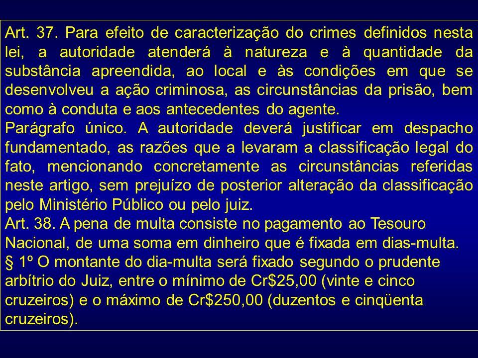 Art. 37. Para efeito de caracterização do crimes definidos nesta lei, a autoridade atenderá à natureza e à quantidade da substância apreendida, ao loc