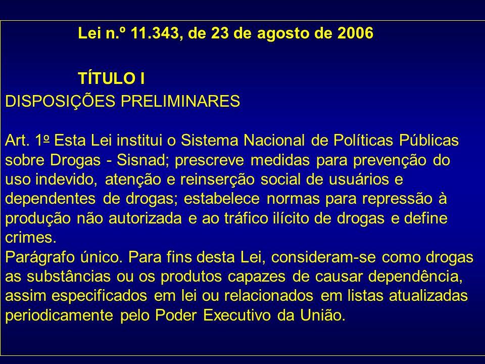 Lei n.º 11.343, de 23 de agosto de 2006 TÍTULO I DISPOSIÇÕES PRELIMINARES Art. 1 o Esta Lei institui o Sistema Nacional de Políticas Públicas sobre Dr