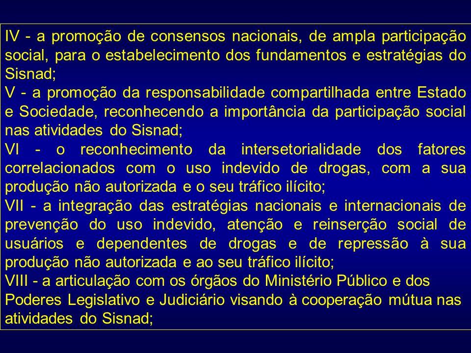 IV - a promoção de consensos nacionais, de ampla participação social, para o estabelecimento dos fundamentos e estratégias do Sisnad; V - a promoção d