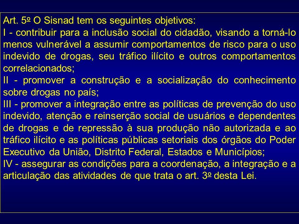 Art. 5 o O Sisnad tem os seguintes objetivos: I - contribuir para a inclusão social do cidadão, visando a torná-lo menos vulnerável a assumir comporta