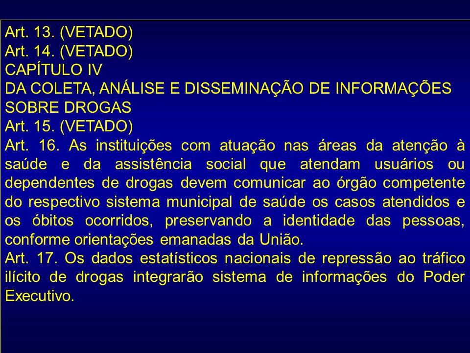 Art. 13. (VETADO) Art. 14. (VETADO) CAPÍTULO IV DA COLETA, ANÁLISE E DISSEMINAÇÃO DE INFORMAÇÕES SOBRE DROGAS Art. 15. (VETADO) Art. 16. As instituiçõ