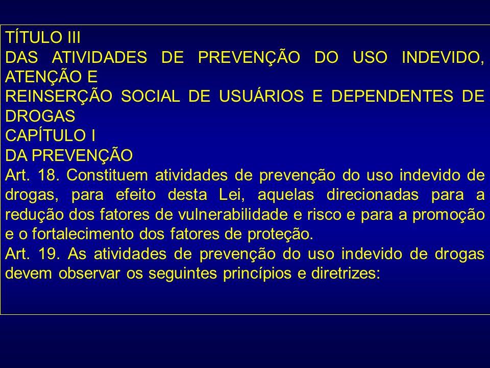 TÍTULO III DAS ATIVIDADES DE PREVENÇÃO DO USO INDEVIDO, ATENÇÃO E REINSERÇÃO SOCIAL DE USUÁRIOS E DEPENDENTES DE DROGAS CAPÍTULO I DA PREVENÇÃO Art. 1