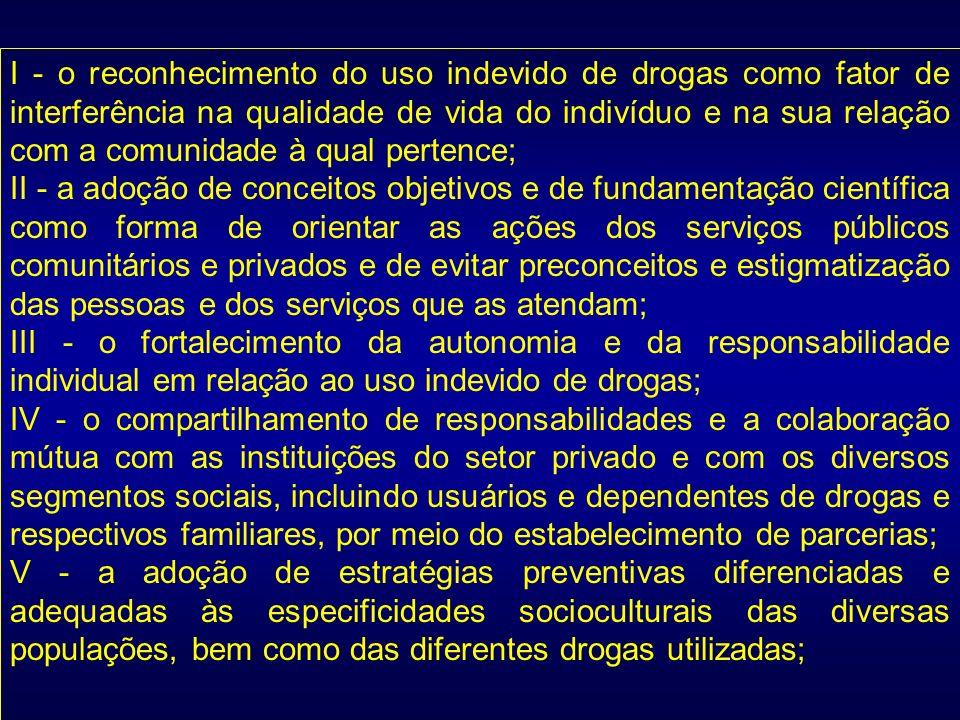 I - o reconhecimento do uso indevido de drogas como fator de interferência na qualidade de vida do indivíduo e na sua relação com a comunidade à qual