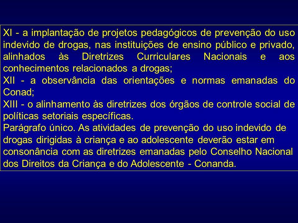 XI - a implantação de projetos pedagógicos de prevenção do uso indevido de drogas, nas instituições de ensino público e privado, alinhados às Diretriz