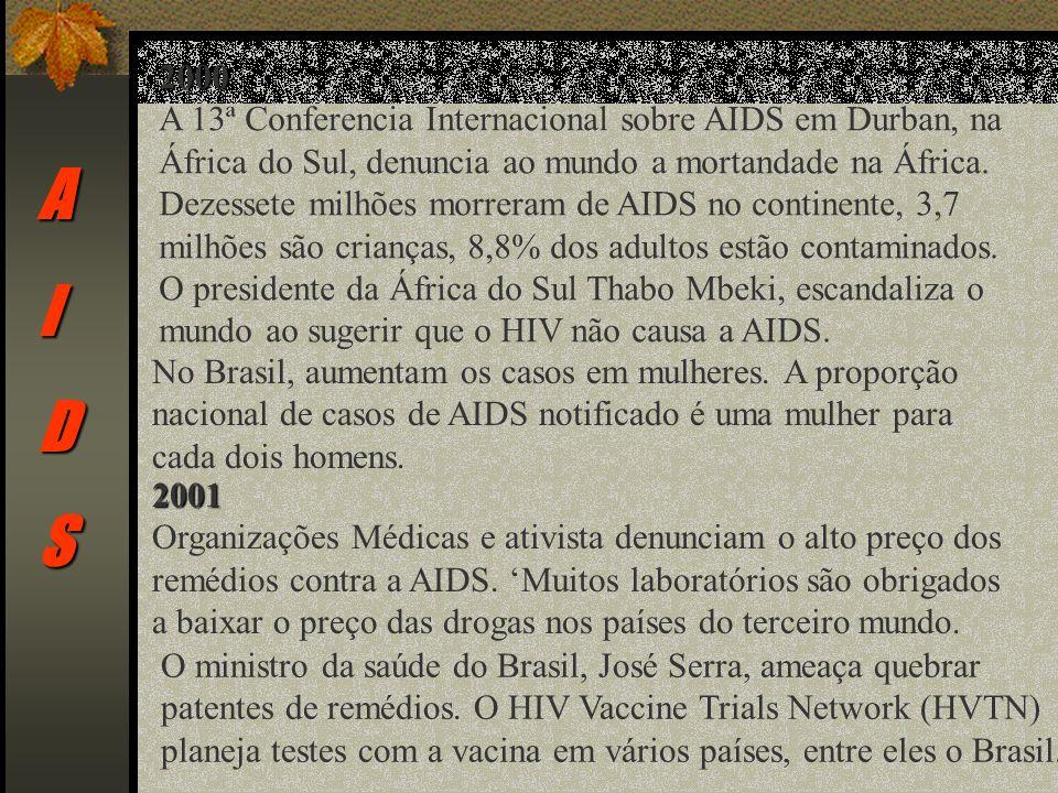 AIDS 2000 A 13ª Conferencia Internacional sobre AIDS em Durban, na África do Sul, denuncia ao mundo a mortandade na África.
