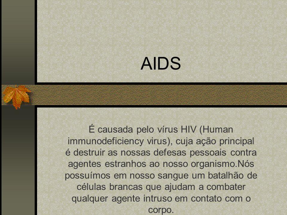 AIDS É causada pelo vírus HIV (Human immunodeficiency virus), cuja ação principal é destruir as nossas defesas pessoais contra agentes estranhos ao nosso organismo.Nós possuímos em nosso sangue um batalhão de células brancas que ajudam a combater qualquer agente intruso em contato com o corpo.