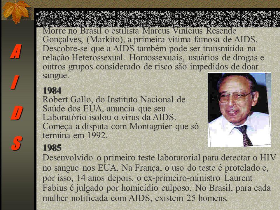 AIDS 1983 Morre no Brasil o estilista Marcus Vinícius Resende Gonçalves, (Markito), a primeira vitima famosa de AIDS.