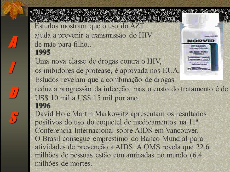 AIDS 1994 Estudos mostram que o uso do AZT ajuda a prevenir a transmissão do HIV de mãe para filho..