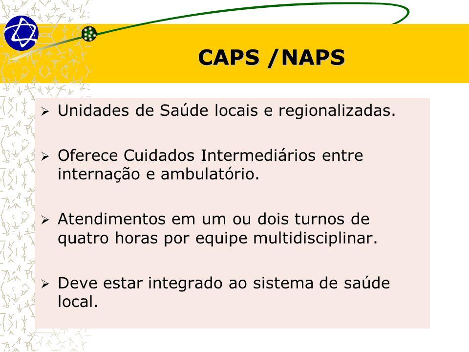 CAPS /NAPS Unidades de Saúde locais e regionalizadas. Oferece Cuidados Intermediários entre internação e ambulatório. Atendimentos em um ou dois turno