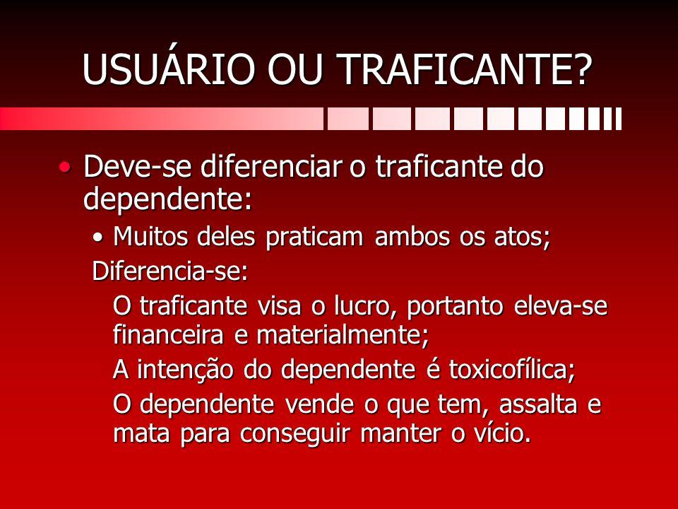USUÁRIO OU TRAFICANTE? Deve-se diferenciar o traficante do dependente:Deve-se diferenciar o traficante do dependente: Muitos deles praticam ambos os a