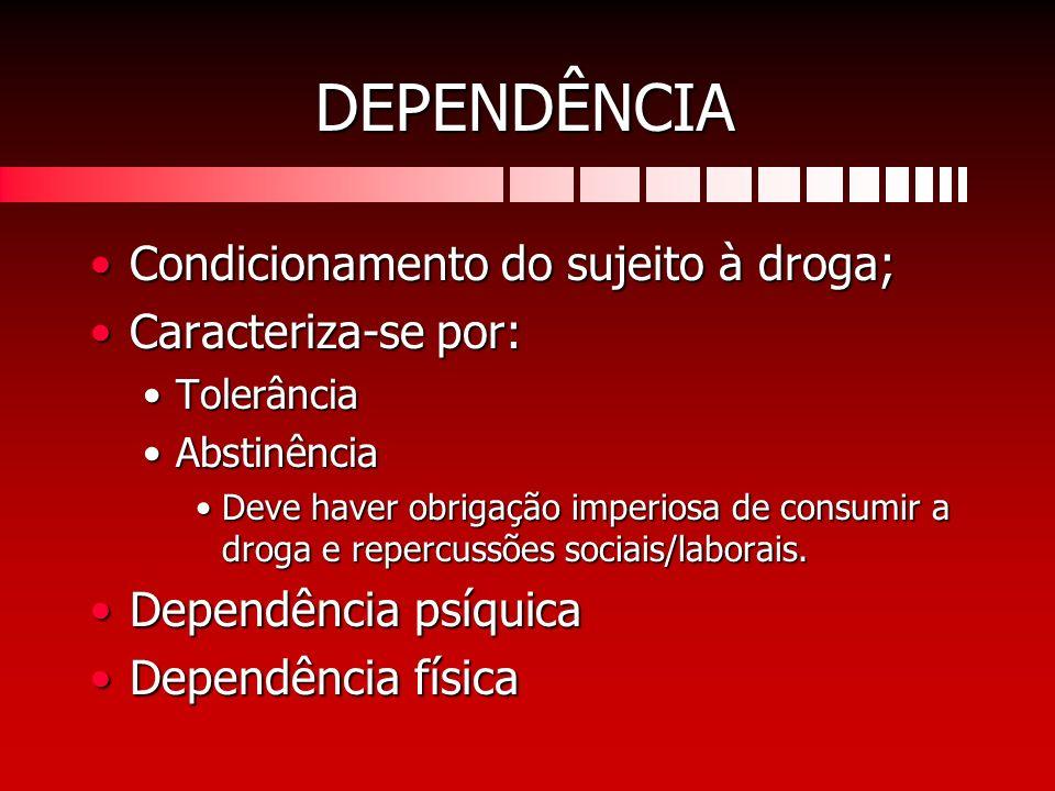 DEPENDÊNCIA Condicionamento do sujeito à droga;Condicionamento do sujeito à droga; Caracteriza-se por:Caracteriza-se por: TolerânciaTolerância Abstinê