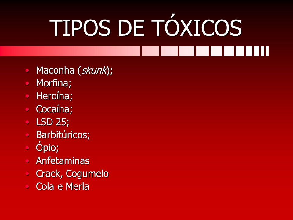 TIPOS DE TÓXICOS Maconha (skunk);Maconha (skunk); Morfina;Morfina; Heroína;Heroína; Cocaína;Cocaína; LSD 25;LSD 25; Barbitúricos;Barbitúricos; Ópio;Óp