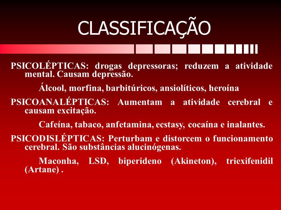 PSICOLÉPTICAS: drogas depressoras; reduzem a atividade mental. Causam depressão. Álcool, morfina, barbitúricos, ansiolíticos, heroína PSICOANALÉPTICAS