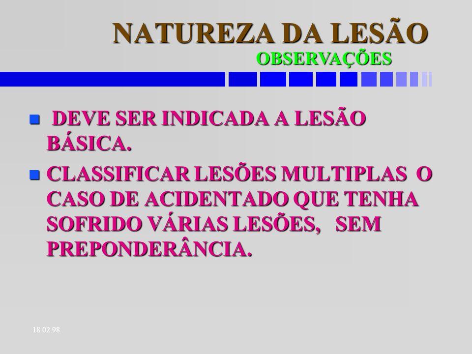 18.02.98 LOCALIZAÇÃO DA LESÃO É A INDICAÇÃO DA SEDE DA LESÃO.