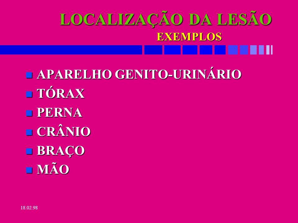 18.02.98 FONTE DA LESÃO É A COISA, SUBSTÂNCIA, ENERGIA OU MOVIMENTO DO CORPO QUE DIRETAMENTE PROVOCOU A LESÃO.