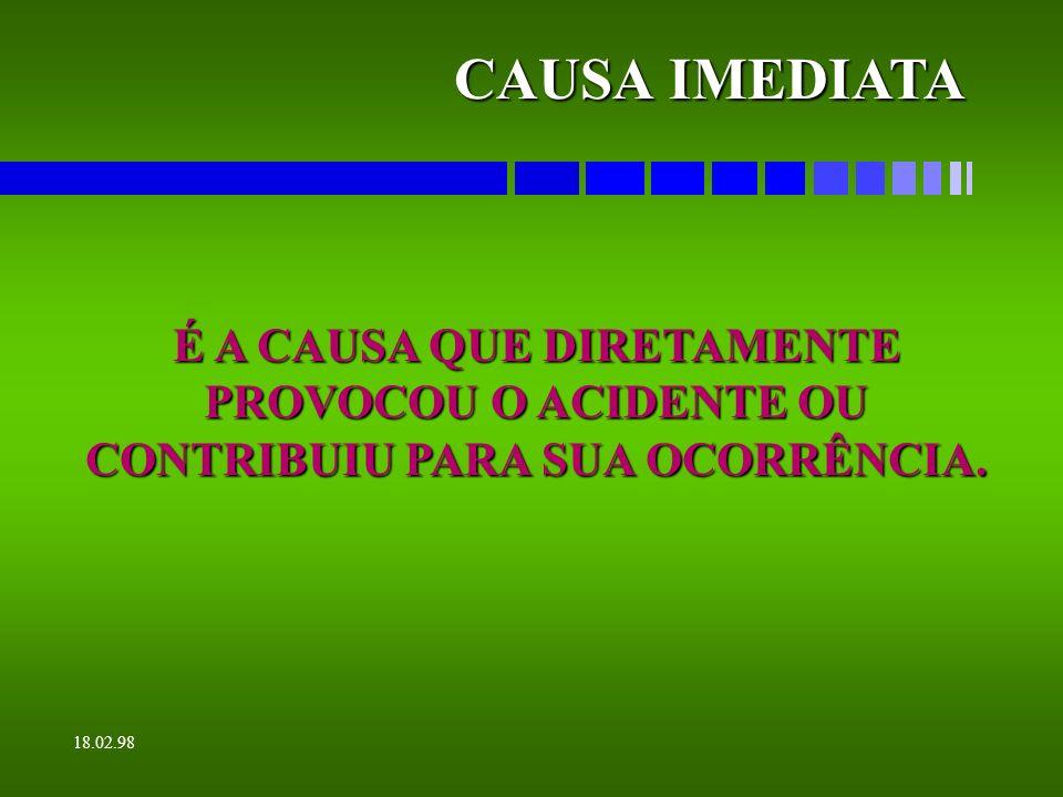 18.02.98 CLASSIFICAÇÃO DA LESÃO É A CLASSIFICAÇÃO EMPREGADA PARA DETERMINAR SE A LESÃO OCORREU COM RETORNO IMEDIATO, COM OU SEM RESTRIÇÃO DE ATIVIDADE, INCAPACIDADES TEMPORÁRIA OU PERMANENTE OU AINDA COM MORTE.