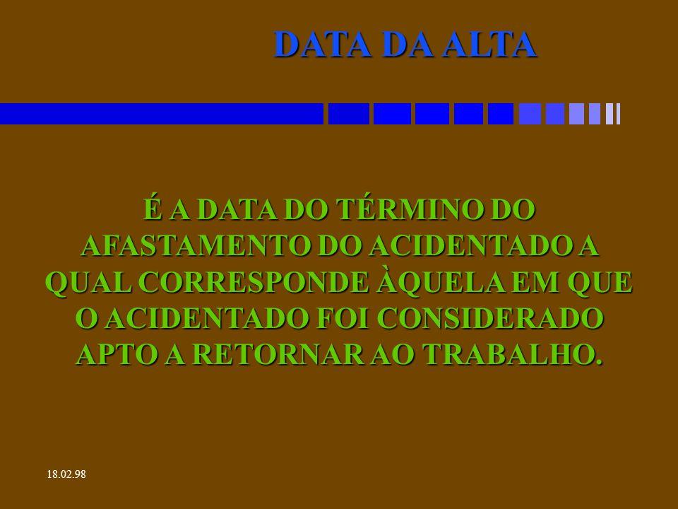 18.02.98 HORA DO ACIDENTE É A DETERMINAÇÃO EXATA DO HORÁRIO DE ACONTECIMENTO DO ACIDENTE.