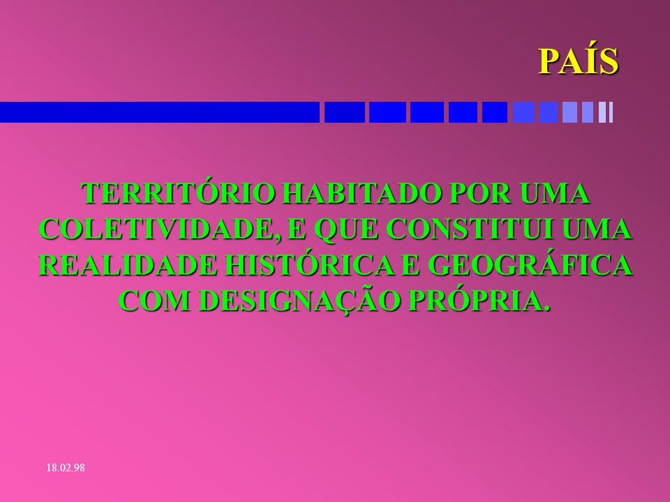 18.02.98 ESTADO É A UNIDADE FEDERATIVA DE UM PAÍS.