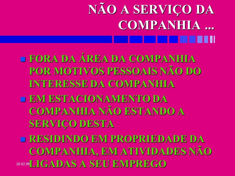 18.02.98 NÃO CONFORMIDADE n RAL: MATRÍCULA, NOME,TIPO ACIDENTE, MATRÍCULA, NOME,TIPO ACIDENTE, TIPO LESÃO, D.OCUPACIONAL, DATAS AFAST.